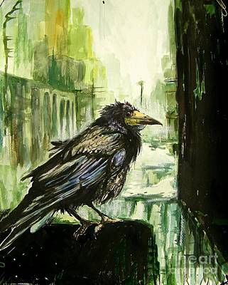 Falcon Painting - Cityscape With A Crow by Suzann's Art