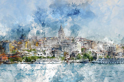Photograph - Cityscape With Galata Tower Over The Golden Horn In Istanbul, Turkey by Brandon Bourdages