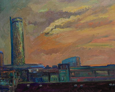 Cityscape With Tower Art Print by Maris Salmins