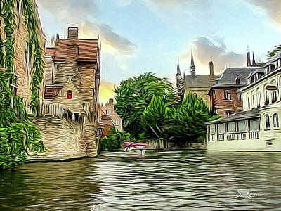 Citylife Digital Art - Cityscape Bruges Belgium by S Art