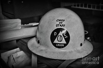 Photograph - Civil Defense Helmet In Black And White by Paul Ward