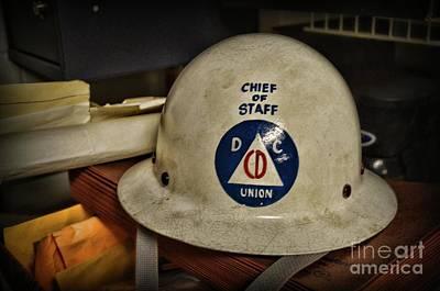 Photograph - Civil Defense Helmet by Paul Ward