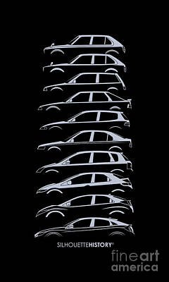 Honda Digital Art - Civil Hatch 5d Silhouettehistory by Gabor Vida