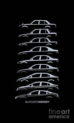 Honda Digital Art - Civil Sedan Silhouettehistory by Gabor Vida