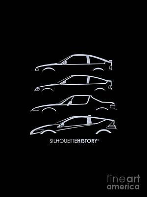 Honda Digital Art - Civil Sport Silhouettehistory by Gabor Vida
