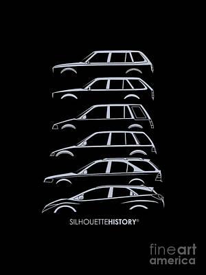 Honda Digital Art - Civil Wagon Silhouettehistory by Gabor Vida