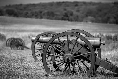 Photograph - Civil War Artillery In Black And White by James Barber