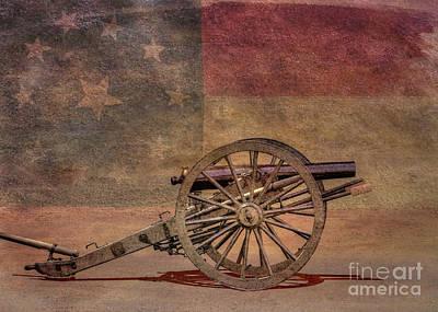 Digital Art - Civil War Cannon On Flag by Randy Steele