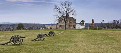 Civil War Cannons And Henry House At Manassas Battlefield Park - Virginia Art Print by Brendan Reals
