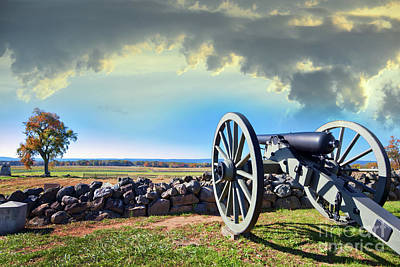 Photograph - Civil War Canon On The Gettysburg Battlefield In Autumn Near Suns by Patrick Wolf