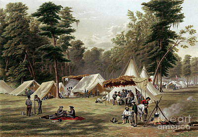 Drawing - Civil War, Confederate Camp.  by Granger
