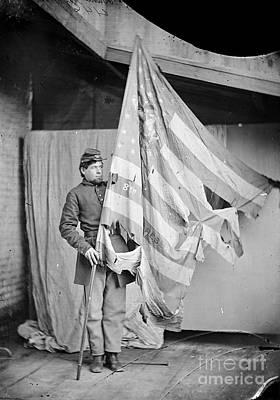 Photograph - Civil War Flag Bearer by Granger