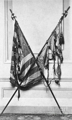 Photograph - Civil War, Flags, C1863.  by Granger