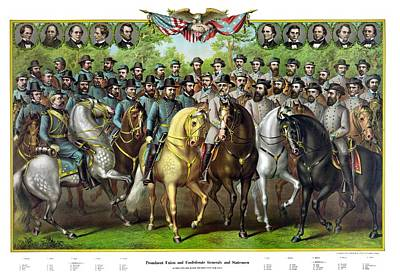 Landmarks Painting Royalty Free Images - Civil War Generals and Statesman With Names Royalty-Free Image by War Is Hell Store