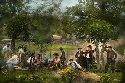 Civil War - Gettysburg Camp Of Captain Huft 1865 Art Print by Mike Savad
