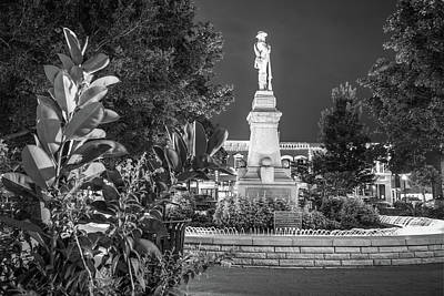 Civil War Memories - Downtown Bentonville Square - Black And White Art Print