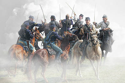 Photograph - Civil War Reenactors In A Calvary Battle by Randall Nyhof