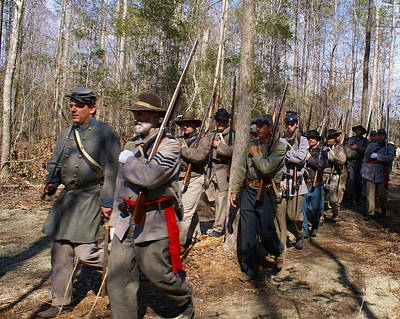 Civil War Soldiers March Through Woods Art Print by Rodger Whitney