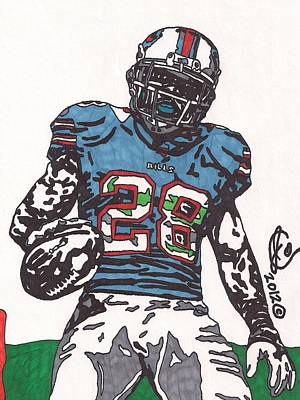 Nfl Player Drawings Drawing - Cj Spiller 1 by Jeremiah Colley