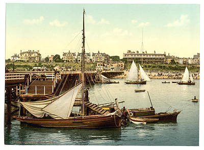Photograph - Clacton-on-sea Pier 1890s With Fishing Boats by Richard Reeve