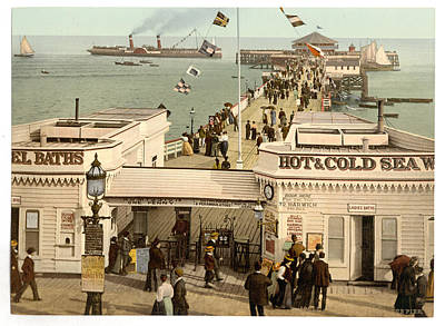 Photograph - Clacton-on-sea Pier 1890s With Steamer by Richard Reeve