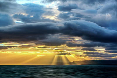 Photograph - Clouds, Sun Rays And Water by Maria Coulson