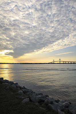 Photograph - Claiborne Pell Newport Bridge Sunset Seen From Goat Island by Marianne Campolongo
