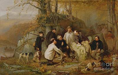 Dog In Landscape Painting - Claiming The Shot - After The Hunt In The Adirondacks by John George Brown