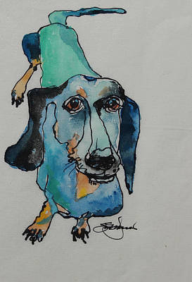 Weiner Dog Painting - Claire In Blue by Susan Davies