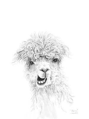 Llama Wall Art - Drawing - Claire by K Llamas