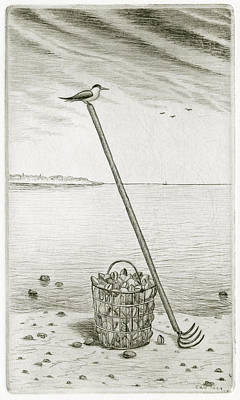 Animals Drawings - Clamming by Charles Harden