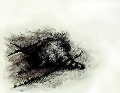 Raccoon Drawing - Clandestine Activities by Rachel Christine Nowicki