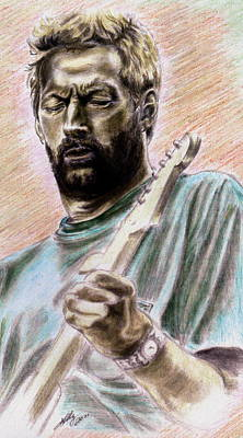 Slowhand Drawing - Clapton by Kathleen Kelly Thompson
