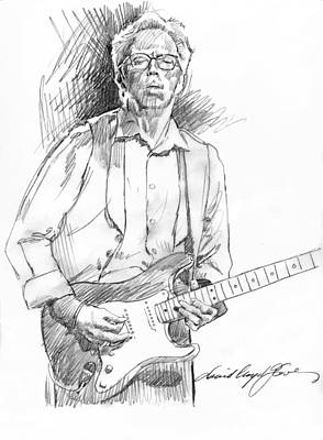Musicians Drawings - Clapton Riff by David Lloyd Glover