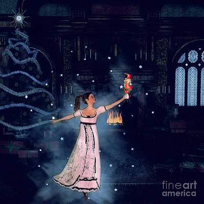 Christmas Eve Painting - Clara And The Nutcracker by Methune Hively