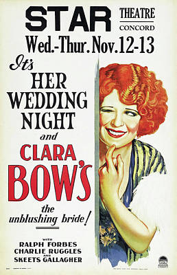 Classic Film Star Mixed Media - Clara Bow In Her Wedding Night 1930 by Mountain Dreams