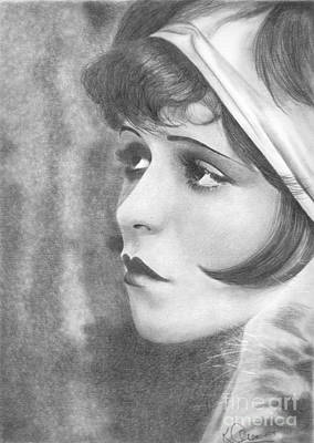 Drawing - Clara Bow by Karen Townsend