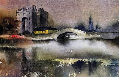 Painting - Clare  Bunratty Dusk  by Val Byrne