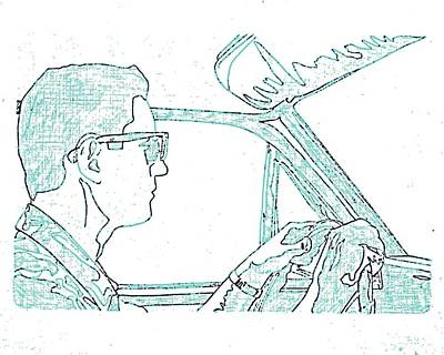 Windshield Drawing - Clarence Driving Blue by Sheri Buchheit