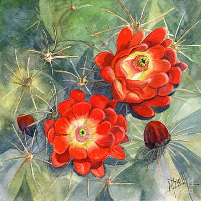 Red Bud Painting - Claret Cup Cactus by Marilyn Smith