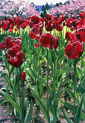 Red Tulip Painting - Claret Tulips  by David Lloyd Glover
