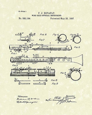 Reeds Drawing - Clarinet 1897 Patent Art  by Prior Art Design
