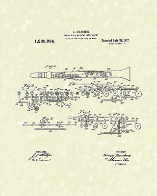 Drawing - Clarinet 1917 Patent Art by Prior Art Design