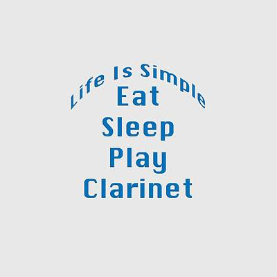 Clarinet Digital Art - Clarinet Eat Sleep Play Clarinet 5512.02 by M K  Miller