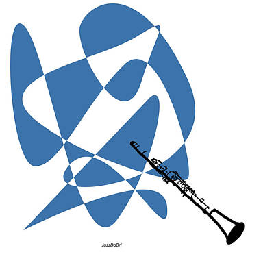 Digital Art - Clarinet In Blue by David Bridburg