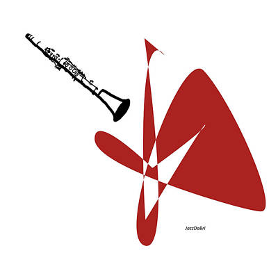 Digital Art - Clarinet In Orange Red by David Bridburg