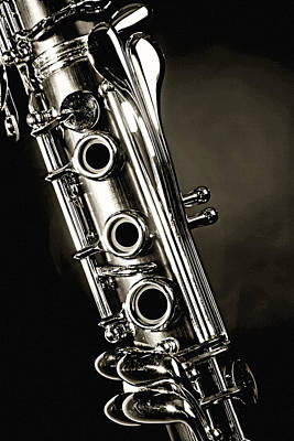 Photograph - Clarinet Isolated In Black And White by M K Miller