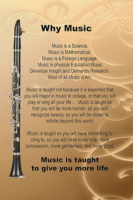 Photograph - Clarinet Why Music Picture Or Poster  4825.02 by M K Miller