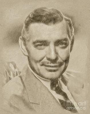 Fantasy Drawings - Clark Gable, Actor by Frank Falcon