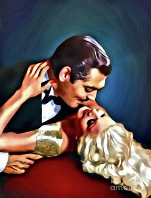 Clark Gable And Jean Harlow, Embrace, Digital Art By Mary Bassett Art Print by Mary Bassett